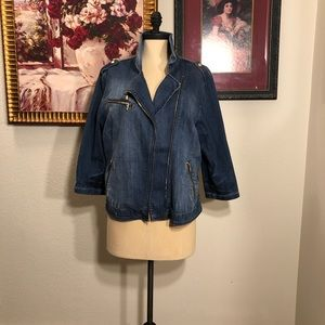 Chicos denim moto jacket with gold hardware